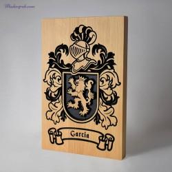 Escudo heraldico de madera apellido garcia